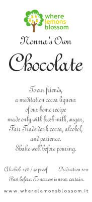Chocolate liqueur bottle label