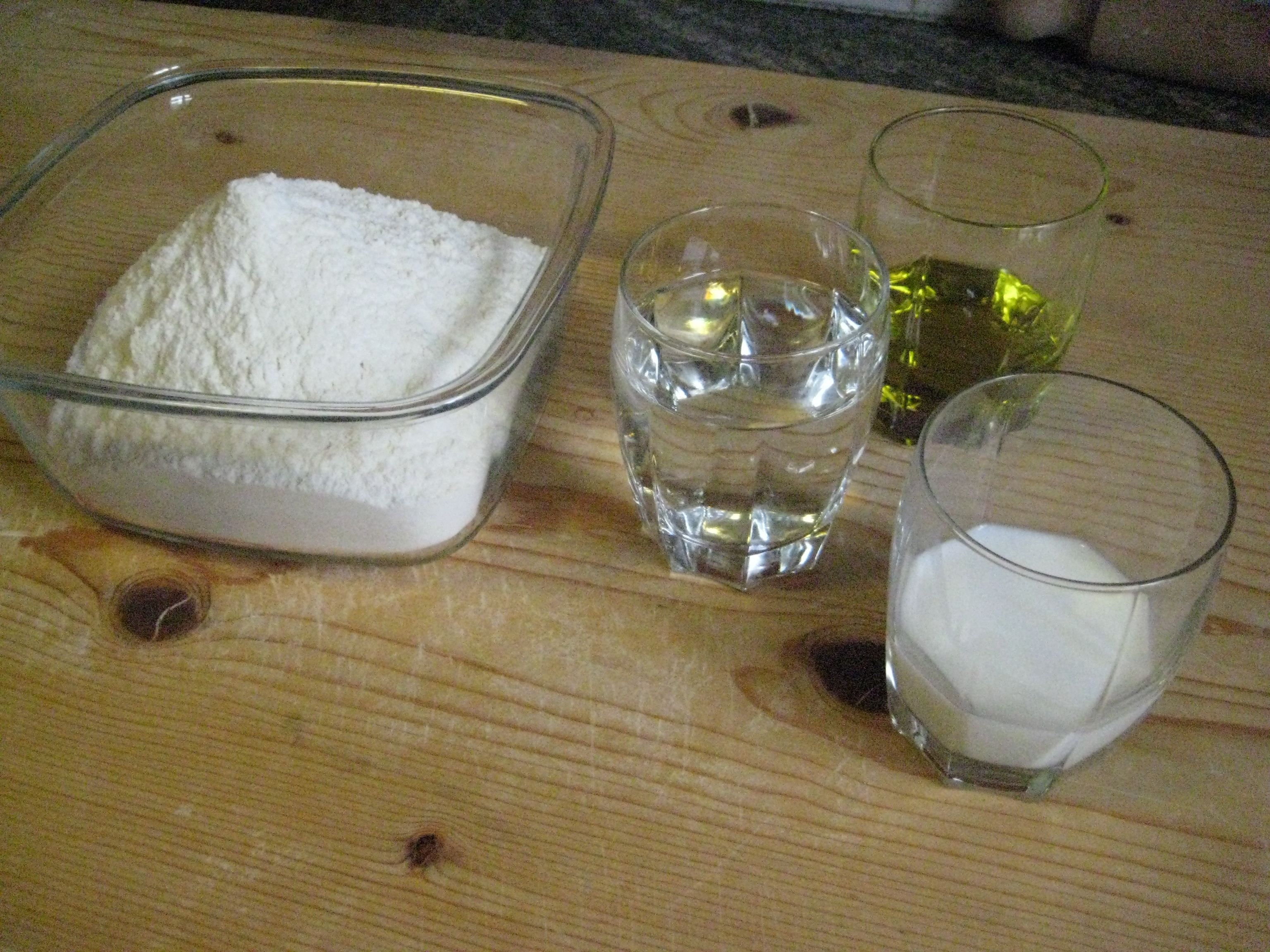 here's all it takes: flour, water, milk, extra-virgin olive oil