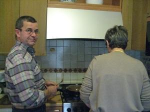 Walter and Granma Ortolani at the stove