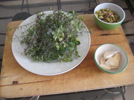 Thyme, marjoram, garlic, pistachios. Keep it simple!