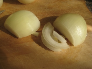 an onion cut in half