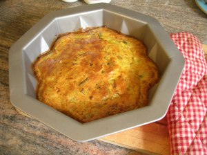 An oven cooked, leek non-frittata