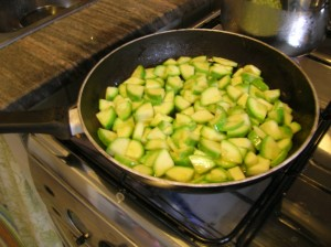 Dice zucchini and sauté with a little oil