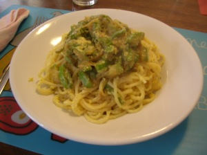 Your veggie carbonara is ready!