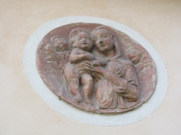 A teracotta Madonna with baby Jesus