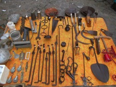 Country working tools (sickles, small rakes, grass sheares, hooks for the fireplace, etc.)