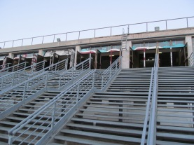 Stairs in the back of the square leading to the old sports stadium