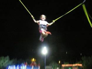 Jumping at the amusement park