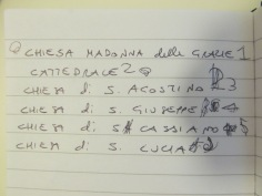 Costanza's notebook - list of the churches we visited and are going to visit in the next days