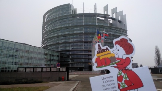 the European Parliament building in its full ugliness. Please keep away from children.