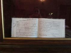 Autograph music sheet inside the 'Tempietto Rossiniano'