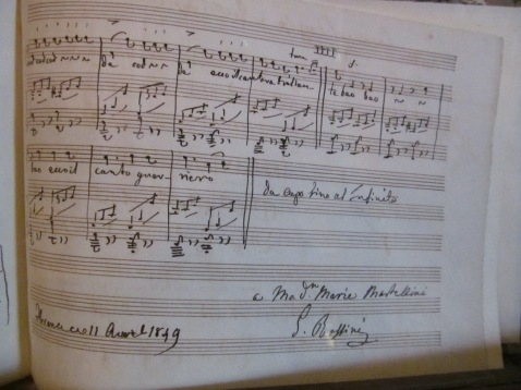 An autograph muisc sheet by Gioachino Rossini