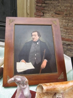 Portrait of Rossini in the open-air market