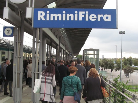 Arrival at Rimini Fair trains station