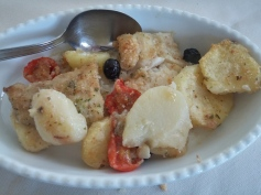 Oven-baked codfish