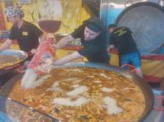 Paella (the guy was pouring 25 kgs of rice into a huge pan!)