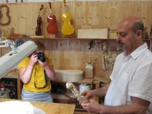 Bridgette and Daniele at Daniele's worskhop